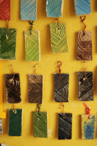 Ceramic Keyrings made in the Pottery room at the Princes Daycare Centre in Risborough